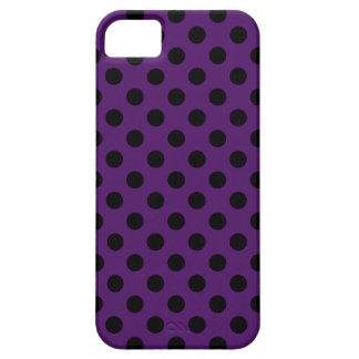 Black polka dots on plum purple iPhone 5 cover