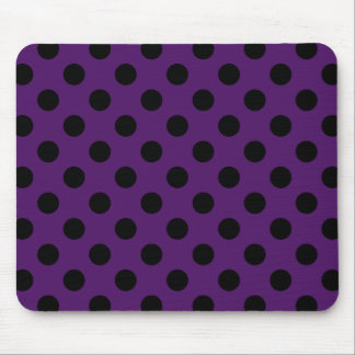 Black polka dots on plum purple mouse pad