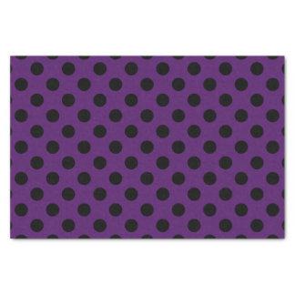 Black polka dots on plum purple tissue paper