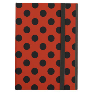 Black polka dots on red cover for iPad air