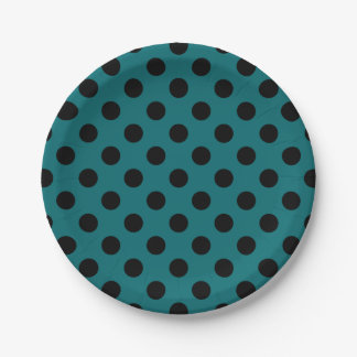 Black polka dots on teal 7 inch paper plate