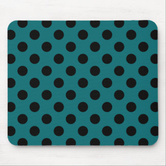 Black polka dots on teal mouse pad