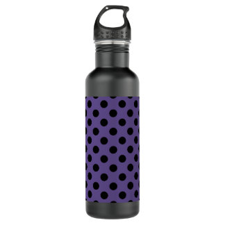 Black polka dots on ultra violet 710 ml water bottle