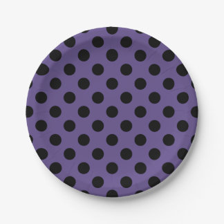 Black polka dots on ultra violet paper plate