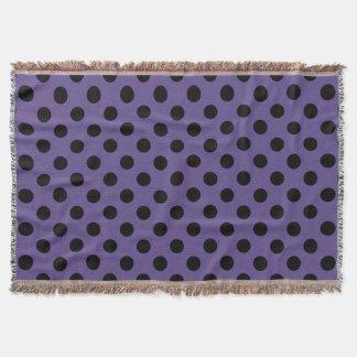 Black polka dots on ultra violet throw blanket