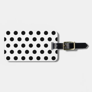 Black polka Dots On White Background Luggage Tag