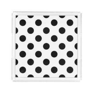 Black polka dots on white serving tray