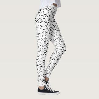 Black Polka Dots on White Stretch Leggings