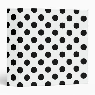 Black polka dots on white vinyl binder