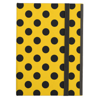 Black polka dots on yellow case for iPad air