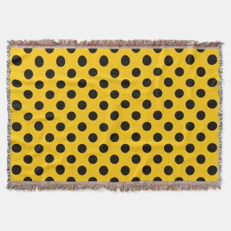 Black polka dots on yellow throw
