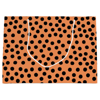 Black Polka Dots Orange Large Gift Bag
