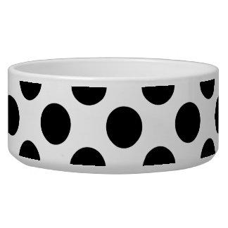 Black Polka Dots Pet Food Bowls