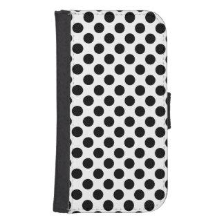 Black Polka Dots Samsung S4 Wallet Case