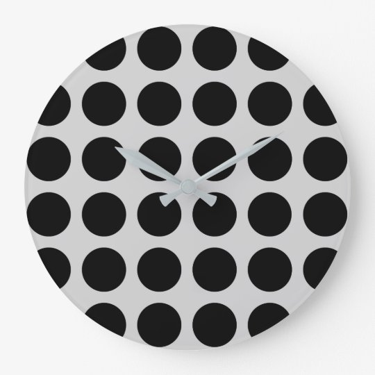 Black Polka Dots Silver Clocks