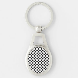 Black Polka Dots Silver-Colored Oval Keychain