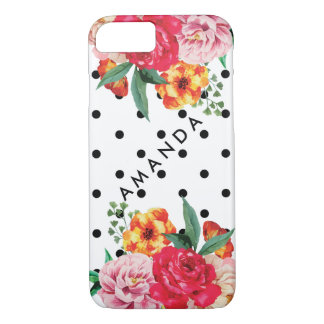 Black polka dots Watercolor Peony Flower YOUR NAME Case-Mate iPhone Case