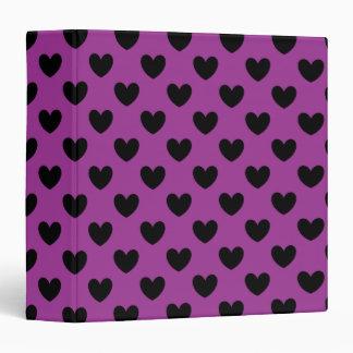Black polka hearts on purple binder