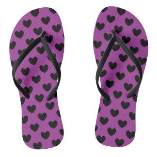 Black polka hearts on purple flip flops