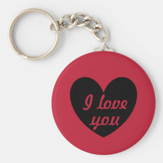 Black polka hearts on red keychain