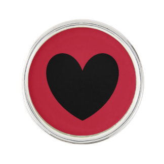Black polka hearts on red lapel pin