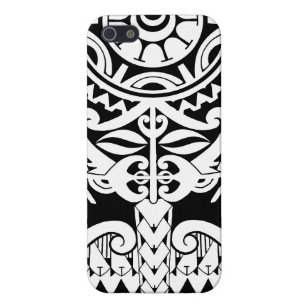 Black Polynesian tattoo design with mask iPhone 5/5S Case