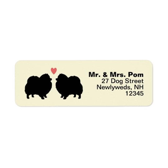 Black Pomeranian Dog Silhouettes with Heart Return Address Label