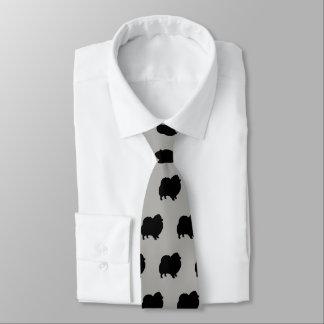 Black Pomeranian Silhouettes Pattern Tie