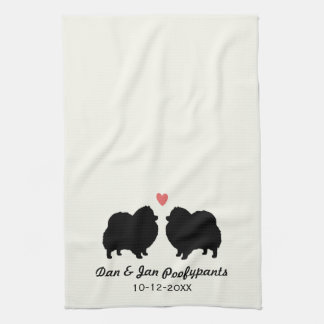 Black Pomeranian Silhouettes with Heart and Text Kitchen Towel