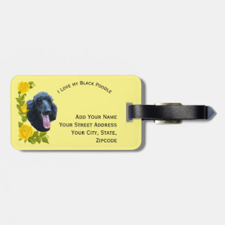 Black Poodle and Yellow Roses Luggage Tag