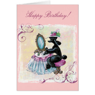 Poodle birthday cards photocards invitations more black poodle boudoir retro art birthday card bookmarktalkfo Gallery
