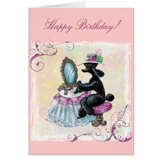 Black Poodle Boudoir Retro Art Birthday Card