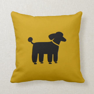 Black Poodle Dog Graphic on Yellow (Customizable) Throw Pillow