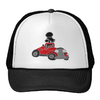 Black Poodle Driving Red Convertible Car Trucker Hat