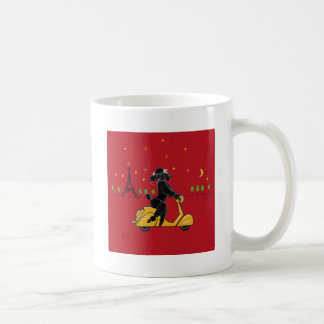 Black Poodle in Paris and Scooter Coffee Mug