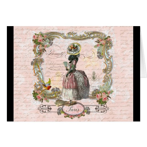 Black Poodle Marie Antoinette Pink Roses