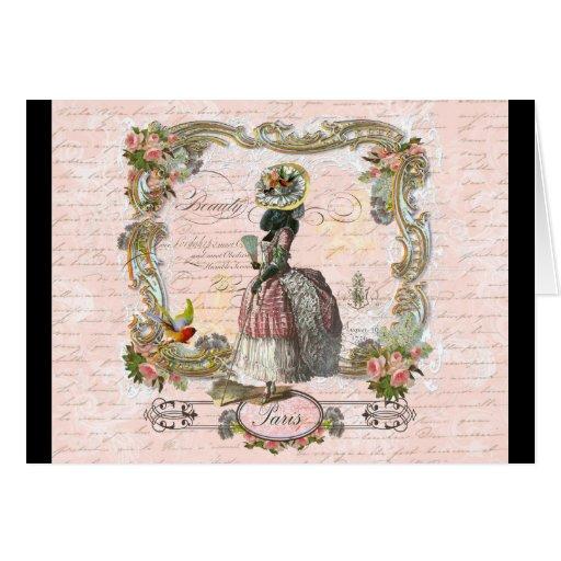 Black Poodle Marie Antoinette Pink Roses Greeting Card