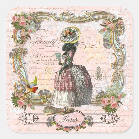 Black Poodle Marie Antoinette Pink Roses Square Sticker
