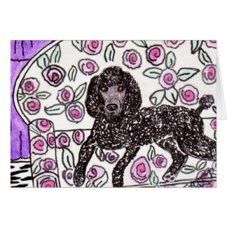 Black Poodle Note Card