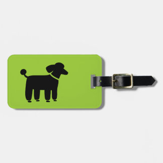 Black Poodle on Green (Color is Customizable) Luggage Tag