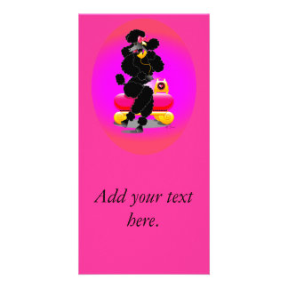 Black Poodle on Phone Retro Design Personalized Photo Card
