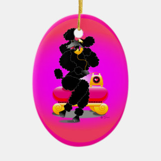 Black Poodle on Phone Retro Ornament