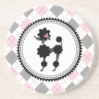 Black Poodle / Pink and Gray Argyle Beverage Coaster