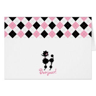 Black Poodle Pink & Black Argyle Notecard