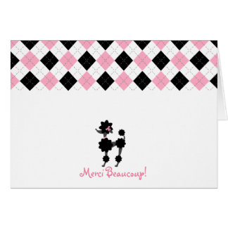 Black Poodle Pink & Black Argyle Thank You Card