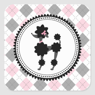 Black Poodle / Pink & Gray Argyle Sticker