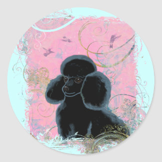 Black Poodle Portrait with Hummingbird. Classic Round Sticker