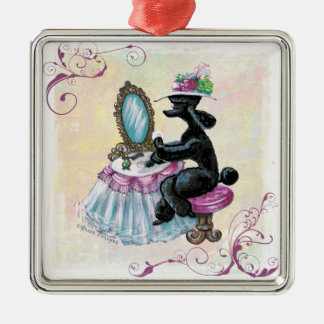 Black Poodle Retro Boudoir Metal Ornament