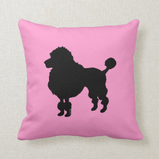 Black poodle silhouette throw pillow