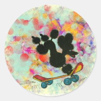 Black Poodle Skateboard Fun Print Classic Round Sticker
